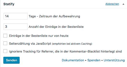 WordPress Statistik: Screenshot Statify Konfiguration