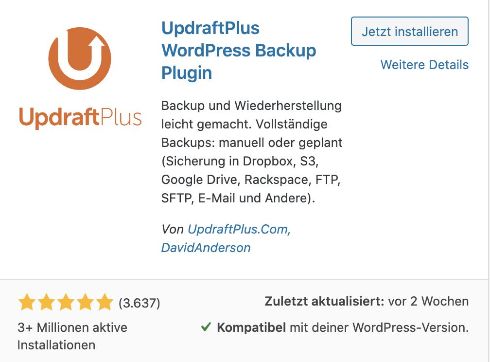WordPress Backup Plugin installieren
