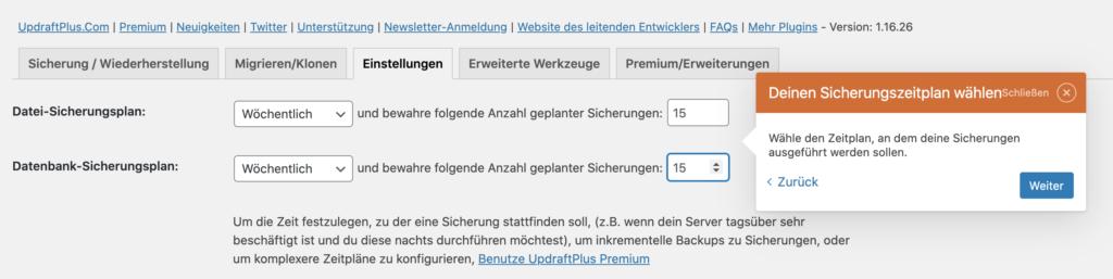 WordPress Backup Sicherungsplan