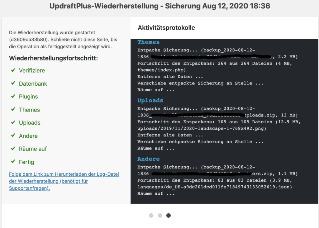 Einspielen Backup Ablauf WordPress Restore