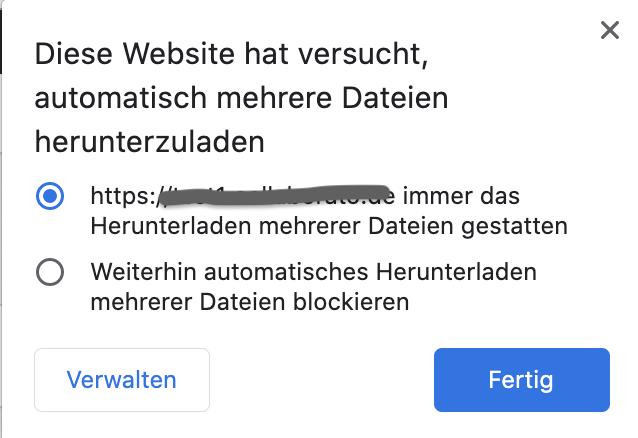 Download .zip erlauben Chrome Browser