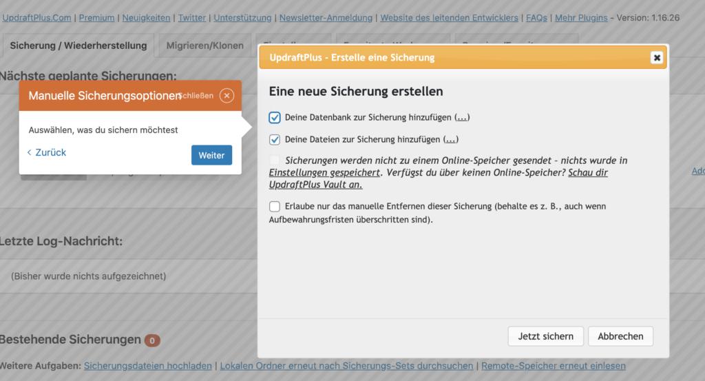 Erstes WordPress Backup mit WordPres Plugin Updraft Plus