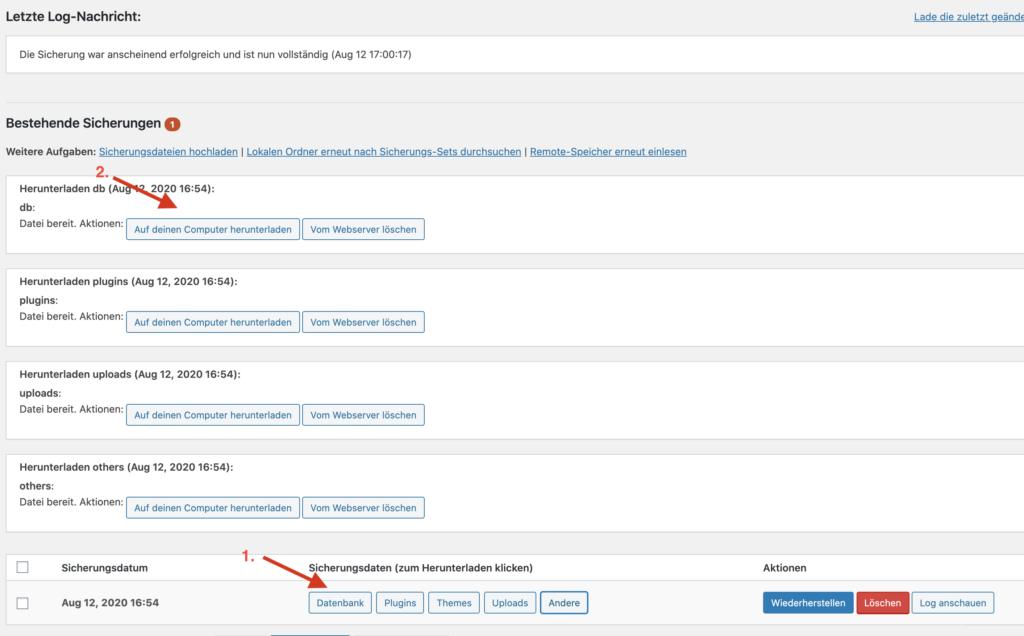 WordPress Backup Download mit Updraft Plus Plugin