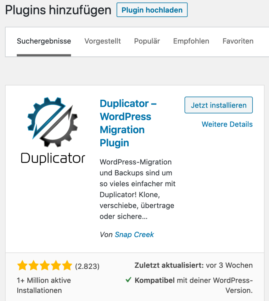 Installation WordPress Plugin kostenlos Duplicator