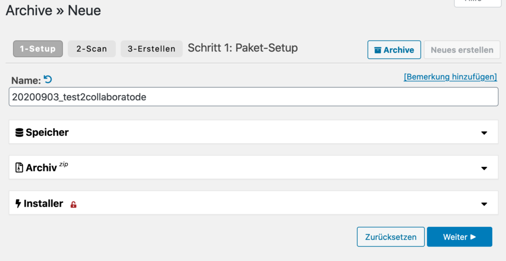Duplicator Stufe 1 Check WordPress Umzug