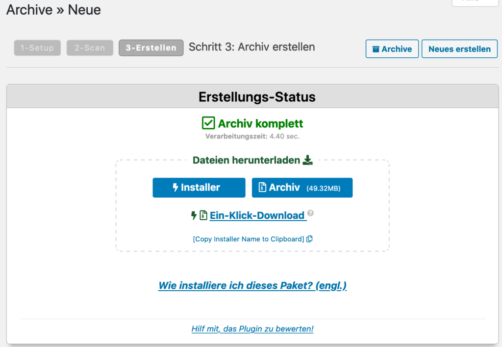 Download WordPress Archiv für Umzug